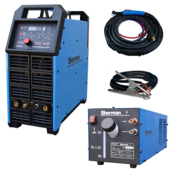 Sherman DIGITIG 315GD Puls AC / DC – inkl. T18 4m, 7.5L køler og flowmeter – TILBUD